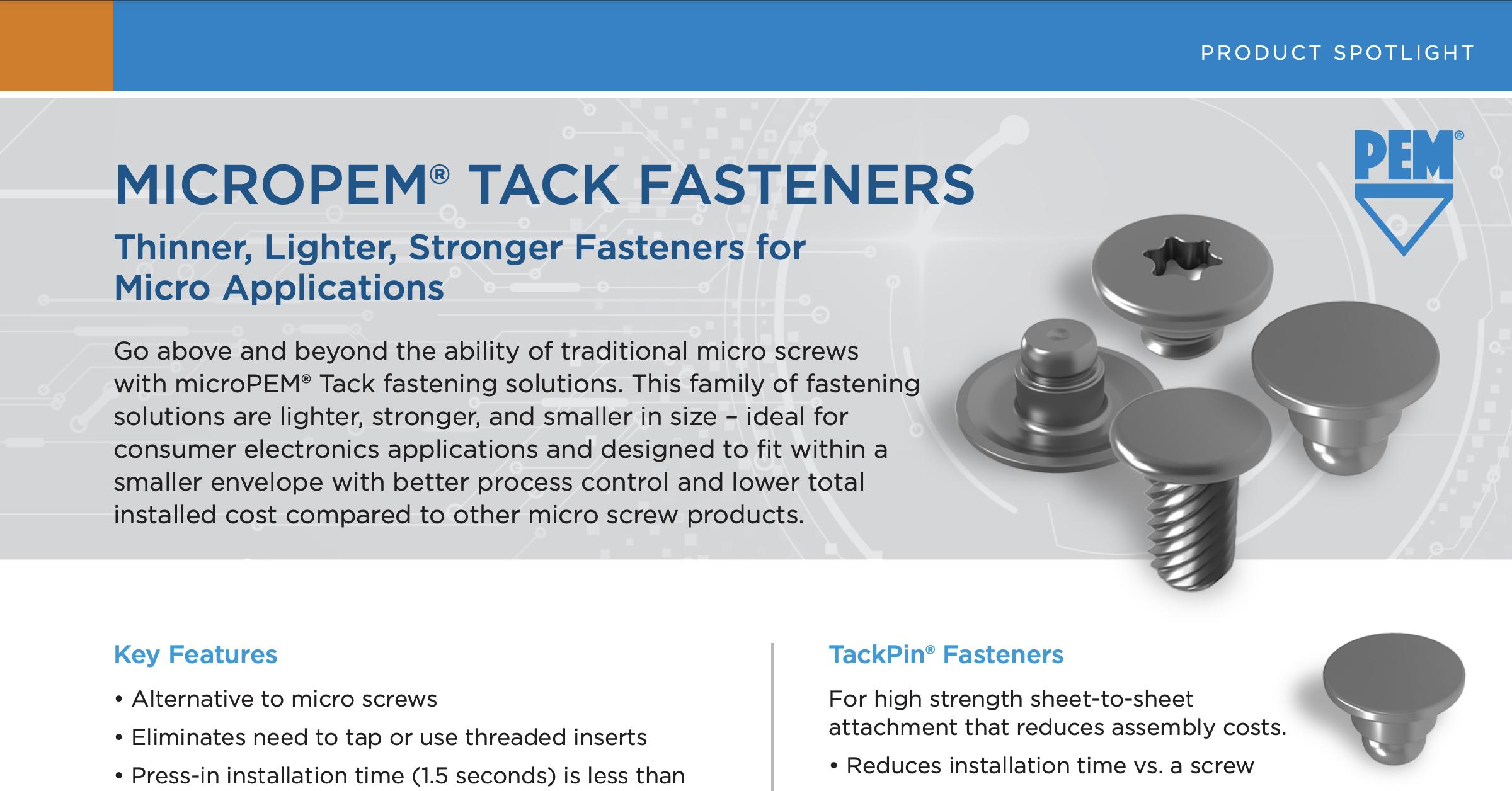 micropem tack fasteners